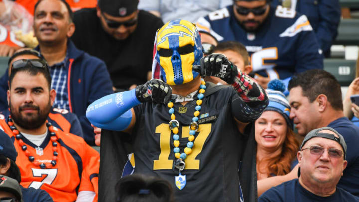 CARSON, CA - NOVEMBER 18: A Los Angeles Chargers fan dances in the stands in the game against the Denver Broncos at StubHub Center on November 18, 2018 in Carson, California. (Photo by Jayne Kamin-Oncea/Getty Images)