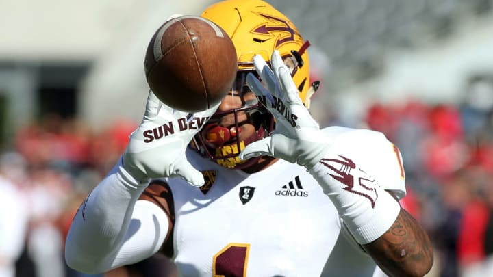 TUCSON, AZ – NOVEMBER 24: Wide receiver N'Keal Harry #1 of the Arizona State Sun Devils warms up prior to a game against the Arizona Wildcats at Arizona Stadium on November 24, 2018 in Tucson, Arizona. (Photo by Ralph Freso/Getty Images)