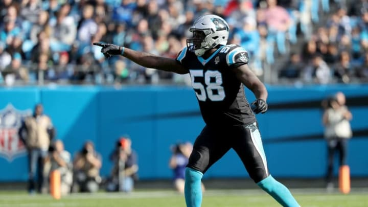 CHARLOTTE, NC - NOVEMBER 25: Thomas Davis #58 of the Carolina Panthers reacts against the Seattle Seahawks in the second quarter during their game at Bank of America Stadium on November 25, 2018 in Charlotte, North Carolina. (Photo by Streeter Lecka/Getty Images)