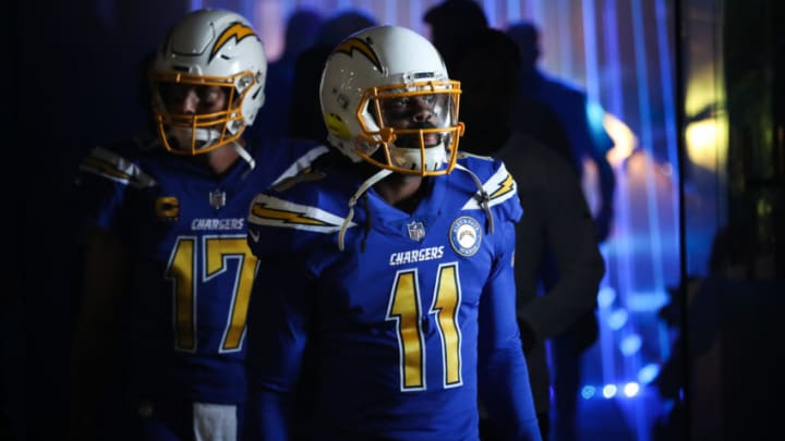 CARSON, CA - NOVEMBER 25: Wide receiver Geremy Davis #11 of the Los Angeles Chargers and quarterback Philip Rivers #17 walk out onto the field for the game against the Arizona Cardinals at StubHub Center on November 25, 2018 in Carson, California. (Photo by Sean M. Haffey/Getty Images)