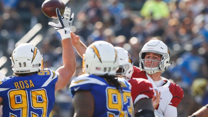 CARSON, CA - NOVEMBER 25: Quarterback Josh Rosen #3 of the Arizona Cardinals makes a pass in the first quarter against the Los Angeles Chargers at StubHub Center on November 25, 2018 in Carson, California. (Photo by Sean M. Haffey/Getty Images)