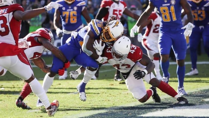 CARSON, CA – NOVEMBER 25: Running back Melvin Gordon #28 of the Los Angeles Chargers scores a touchdown in the second quarter against the Arizona Cardinals for a score of 20-10 at StubHub Center on November 25, 2018 in Carson, California. (Photo by Sean M. Haffey/Getty Images)