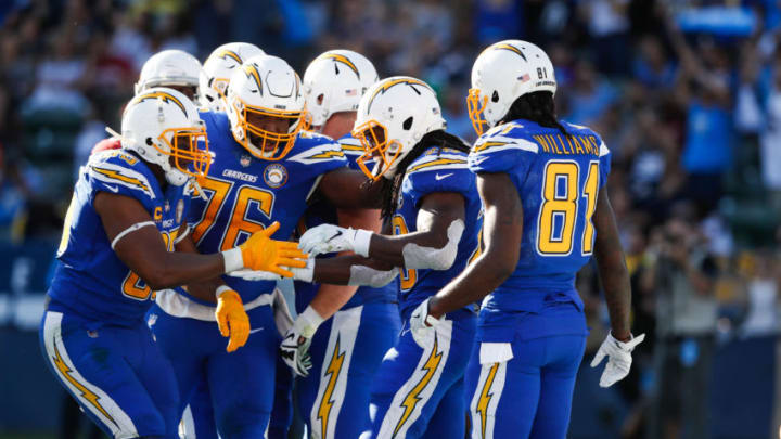 CARSON, CA - NOVEMBER 25: Running back Melvin Gordon #28 of the Los Angeles Chargers reacts after a short run in the second quarter against the Arizona Cardinals at StubHub Center on November 25, 2018 in Carson, California. (Photo by Sean M. Haffey/Getty Images)