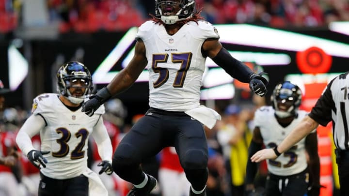 ATLANTA, GA - DECEMBER 02: C.J. Mosley #57 of the Baltimore Ravens reacts after a defensive stop against the Atlanta Falcons at Mercedes-Benz Stadium on December 2, 2018 in Atlanta, Georgia. (Photo by Kevin C. Cox/Getty Images)