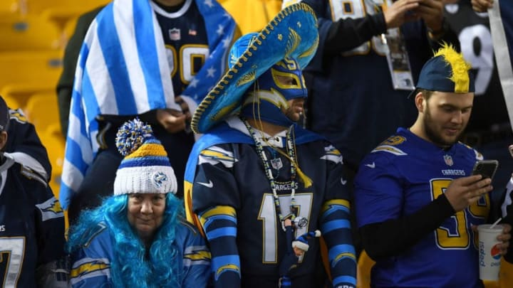 PITTSBURGH, PA - DECEMBER 02: Los Angeles Chargers fans watch warmups before the game against the Pittsburgh Steelers at Heinz Field on December 2, 2018 in Pittsburgh, Pennsylvania. (Photo by Joe Sargent/Getty Images)