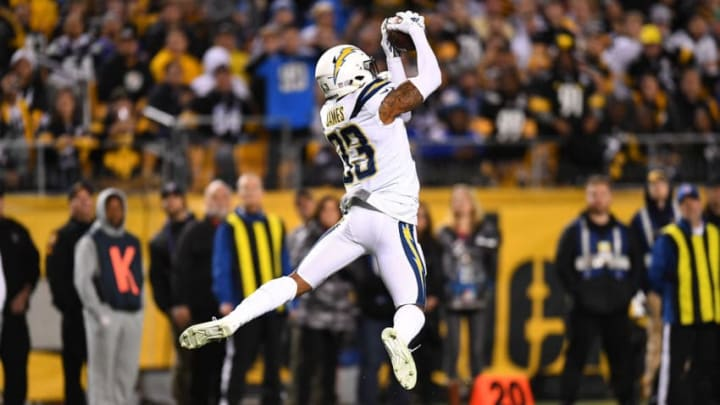 PITTSBURGH, PA - DECEMBER 02: Derwin James #33 of the Los Angeles Chargers intercepts a pass thrown by Ben Roethlisberger #7 of the Pittsburgh Steelers in the first quarter during the game at Heinz Field on December 2, 2018 in Pittsburgh, Pennsylvania. (Photo by Joe Sargent/Getty Images)