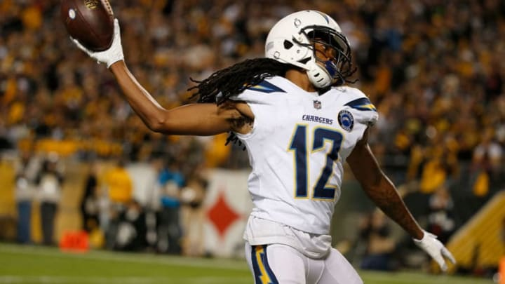PITTSBURGH, PA - DECEMBER 02: Travis Benjamin #12 of the Los Angeles Chargers reacts after a 46 yard touchdown reception in the first quarter during the game against the Pittsburgh Steelers at Heinz Field on December 2, 2018 in Pittsburgh, Pennsylvania. (Photo by Justin K. Aller/Getty Images)