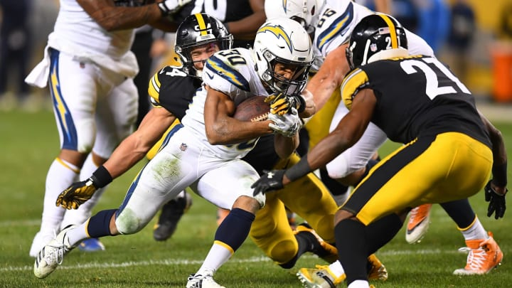 PITTSBURGH, PA – DECEMBER 02: Austin Ekeler #30 of the Los Angeles Chargers rushes the ball against Sean Davis #21 of the Pittsburgh Steelers in the second half during the game at Heinz Field on December 2, 2018 in Pittsburgh, Pennsylvania. (Photo by Joe Sargent/Getty Images)