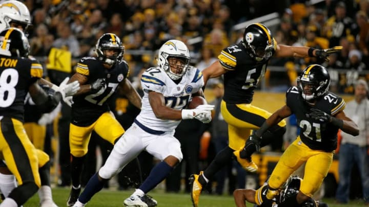 PITTSBURGH, PA - DECEMBER 02: Justin Jackson #32 of the Los Angeles Chargers rushes for a 18 yard touchdown in the fourth quarter during the game against the Pittsburgh Steelers at Heinz Field on December 2, 2018 in Pittsburgh, Pennsylvania. (Photo by Justin K. Aller/Getty Images)