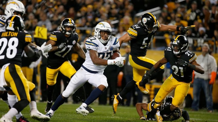 PITTSBURGH, PA – DECEMBER 02: Justin Jackson #32 of the Los Angeles Chargers rushes for a 18 yard touchdown in the fourth quarter during the game against the Pittsburgh Steelers at Heinz Field on December 2, 2018 in Pittsburgh, Pennsylvania. (Photo by Justin K. Aller/Getty Images)