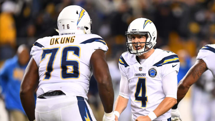 PITTSBURGH, PA – DECEMBER 02: Mike Badgley #4 of the Los Angeles Chargers celebrates with Russell Okung #76 after kicking the game winning field goal to give the Chargers a 33-30 win over the Pittsburgh Steelers at Heinz Field on December 2, 2018 in Pittsburgh, Pennsylvania. (Photo by Joe Sargent/Getty Images)