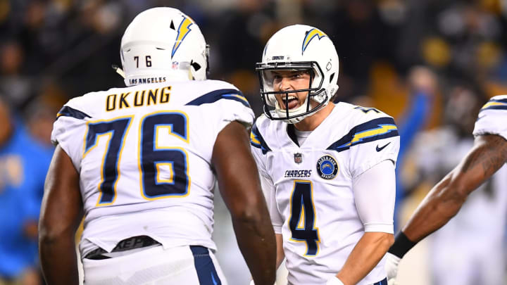 PITTSBURGH, PA – DECEMBER 02: Mike Badgley #4 of the Los Angeles Chargers celebrates with Russell Okung #76 after kicking the game-winning field goal to give the Chargers a 33-30 win over the Pittsburgh Steelers at Heinz Field on December 2, 2018, in Pittsburgh, Pennsylvania. (Photo by Joe Sargent/Getty Images)