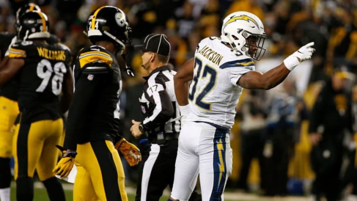 PITTSBURGH, PA - DECEMBER 02: Justin Jackson #32 of the Los Angeles Chargers signals a first down in the second half during the game against the Pittsburgh Steelers at Heinz Field on December 2, 2018 in Pittsburgh, Pennsylvania. (Photo by Justin K. Aller/Getty Images)