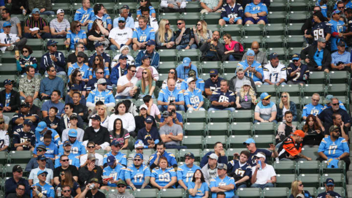CARSON, CA - DECEMBER 09: Fans interact before the Los Angeles Chargers game against the Cincinnati Bengals at StubHub Center on December 9, 2018 in Carson, California. (Photo by Sean M. Haffey/Getty Images)