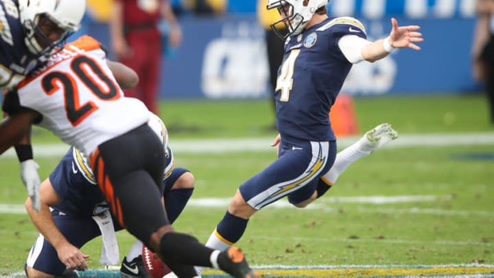 CARSON, CA - DECEMBER 09: Kicker Mike Badgley #4 of the Los Angeles Chargers kicks a field goal in the second quarter against the Cincinnati Bengals at StubHub Center on December 9, 2018 in Carson, California. (Photo by Sean M. Haffey/Getty Images)