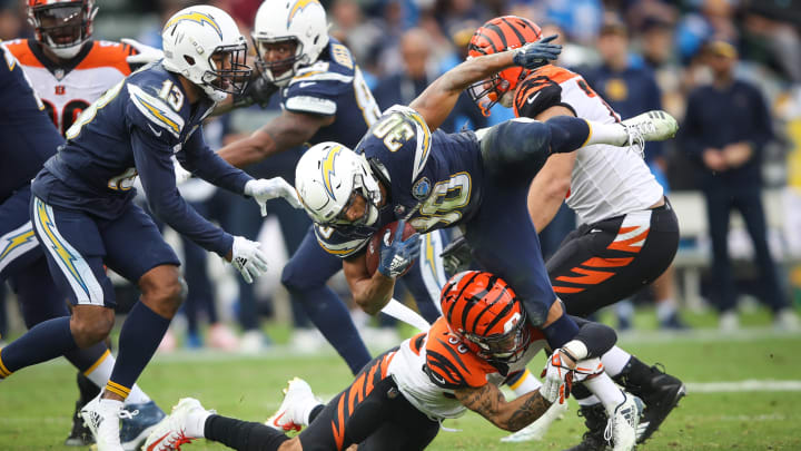 CARSON, CA – DECEMBER 09: Free safety Jessie Bates #30 of the Cincinnati Bengals stops running back Austin Ekeler #30 of the Los Angeles Chargers in the third quarter at StubHub Center on December 9, 2018 in Carson, California. (Photo by Sean M. Haffey/Getty Images)
