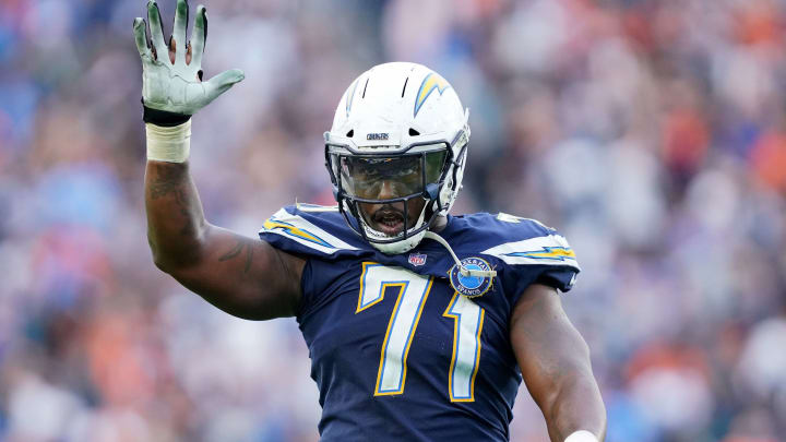 CARSON, CA – DECEMBER 09: Damion Square #71 of the Los Angeles Chargers celebrates the stop of a Cincinnati Bengals two point conversion, to preserve a 23-21 lead, during the fourth quarter in a 26-21 Chargers win at StubHub Center on December 9, 2018 in Carson, California. (Photo by Harry How/Getty Images)
