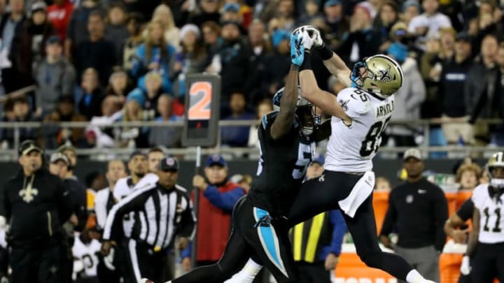 CHARLOTTE, NC - DECEMBER 17: Thomas Davis #58 of the Carolina Panthers defends a pass to Dan Arnold #85 of the New Orleans Saints in the third quarter during their game at Bank of America Stadium on December 17, 2018 in Charlotte, North Carolina. (Photo by Streeter Lecka/Getty Images)