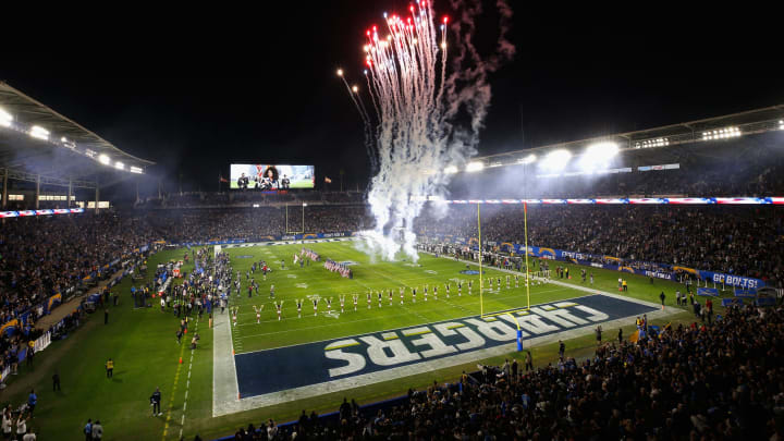 CARSON, CA – DECEMBER 22: Fireworks go off during the national anthem prior to a game between the Baltimore Ravens and the Los Angeles Chargers during the first half of a game at StubHub Center on December 22, 2018 in Carson, California. (Photo by Sean M. Haffey/Getty Images)