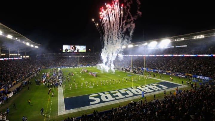 CARSON, CA - DECEMBER 22: Fireworks go off during the national anthem prior to a game between the Baltimore Ravens and the Los Angeles Chargers during the first half of a game at StubHub Center on December 22, 2018 in Carson, California. (Photo by Sean M. Haffey/Getty Images)
