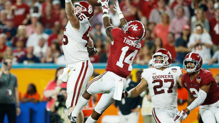 MIAMI, FL – DECEMBER 29: Deionte Thompson #14 of the Alabama Crimson Tide breaks the pass intended for Carson Meier #45 of the Oklahoma Sooners in the third quarter during the College Football Playoff Semifinal at the Capital One Orange Bowl at Hard Rock Stadium on December 29, 2018 in Miami, Florida. (Photo by Michael Reaves/Getty Images)