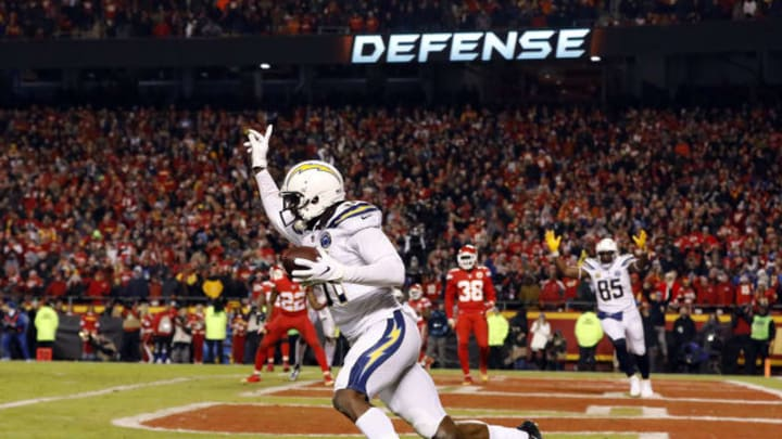 KANSAS CITY, MISSOURI – DECEMBER 13: Wide receiver Mike Williams #81 of the Los Angeles Chargers celebrates after catching the two point conversion with 4 seconds remaining in the game to put the Chargers up 29-28 on the Kansas City Chiefs at Arrowhead Stadium on December 13, 2018, in Kansas City, Missouri. (Photo by David Eulitt/Getty Images)