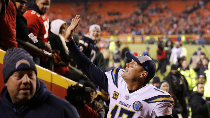 KANSAS CITY, MISSOURI – DECEMBER 13: Quarterback Philip Rivers #17 of the Los Angeles Chargers waves to Kansas City Chiefs fans after the Chargers defeated the Chiefs with a final score of 29-28 to win the game at Arrowhead Stadium on December 13, 2018 in Kansas City, Missouri. (Photo by David Eulitt/Getty Images)