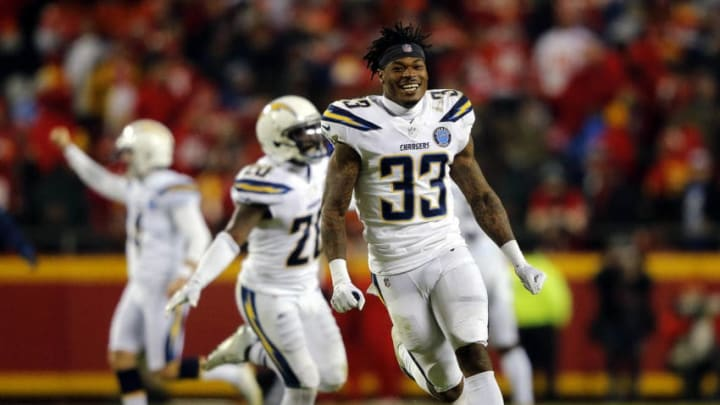 KANSAS CITY, MISSOURI - DECEMBER 13: Free safety Derwin James #33 of the Los Angeles Chargers celebrates after the Chargers defeated the Kansas City Chiefs 29-28 to win the game at Arrowhead Stadium on December 13, 2018 in Kansas City, Missouri. (Photo by David Eulitt/Getty Images)