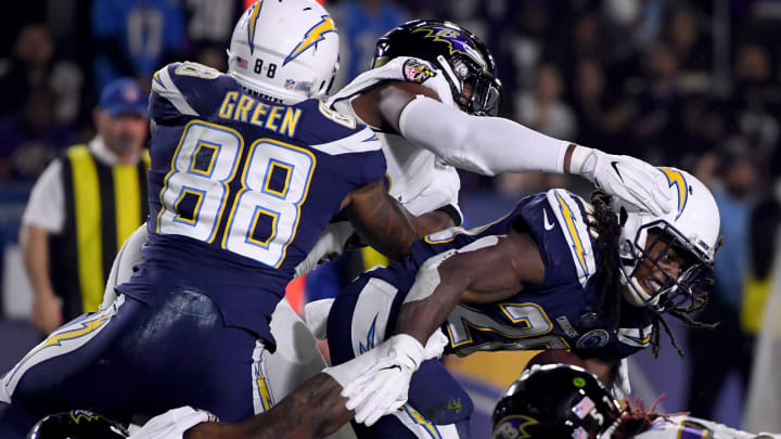 CARSON, CALIFORNIA – DECEMBER 22: Melvin Gordon #28 of the Los Angeles Chargers reacts during his run against the Baltimore Ravens during the second quarter at StubHub Center on December 22, 2018 in Carson, California. (Photo by Harry How/Getty Images)
