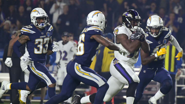 Baltimore Ravens running back Gus Edwards has racked up 654 yards rushing in his last seven games. (Photo by Harry How/Getty Images)