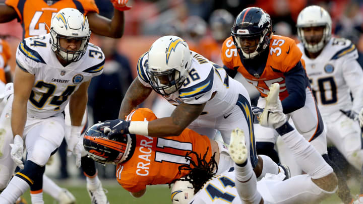 DENVER, COLORADO – DECEMBER 30: River Cracraft #11 of the Denver Broncos is tackled by Geremy Davis #11 and Kyle Wilson #56 the Los Angeles Chargers returning a punt at Broncos Stadium at Mile High on December 30, 2018 in Denver, Colorado. (Photo by Matthew Stockman/Getty Images)