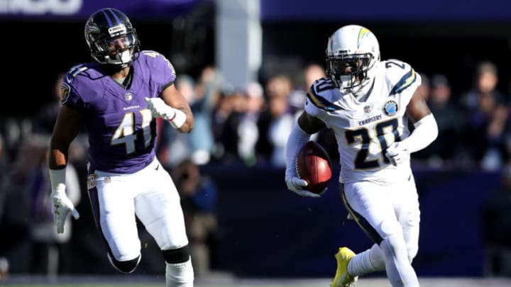 BALTIMORE, MARYLAND - JANUARY 06: Desmond King #20 of the Los Angeles Chargers returns the ball against the Baltimore Ravens during the first quarter in the AFC Wild Card Playoff game at M&T Bank Stadium on January 06, 2019 in Baltimore, Maryland. (Photo by Patrick Smith/Getty Images)