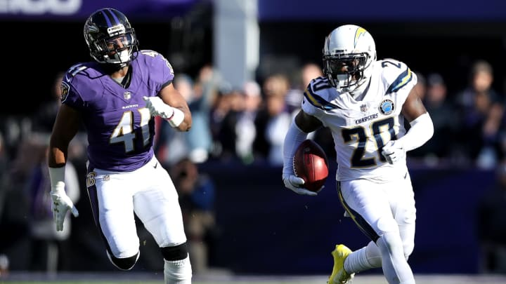 BALTIMORE, MARYLAND – JANUARY 06: Desmond King #20 of the Los Angeles Chargers returns the ball against the Baltimore Ravens during the first quarter in the AFC Wild Card Playoff game at M&T Bank Stadium on January 06, 2019 in Baltimore, Maryland. (Photo by Patrick Smith/Getty Images)