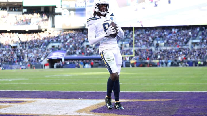BALTIMORE, MARYLAND – JANUARY 06: Mike Williams #81 of the Los Angeles Chargers scores the two point conversion against the Baltimore Ravens during the fourth quarter in the AFC Wild Card Playoff game at M&T Bank Stadium on January 06, 2019 in Baltimore, Maryland. (Photo by Patrick Smith/Getty Images)