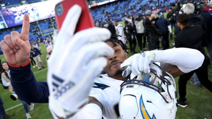 BALTIMORE, MARYLAND - JANUARY 06: Derwin James #33 of the Los Angeles Chargers celebrates after defeating the Baltimore Ravens after the AFC Wild Card Playoff game at M&T Bank Stadium on January 06, 2019 in Baltimore, Maryland. The Chargers defeated the Ravens with a score of 23 to 17. (Photo by Patrick Smith/Getty Images)