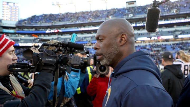 BALTIMORE, MARYLAND - JANUARY 06: Head coach Anthony Lynn of the Los Angeles Chargers walks off the field after defeating the Baltimore Ravens in the AFC Wild Card Playoff game at M&T Bank Stadium on January 06, 2019 in Baltimore, Maryland. The Chargers defeated the Ravens with a score of 23 to 17. (Photo by Rob Carr/Getty Images)