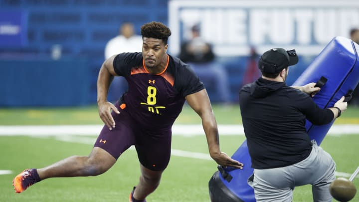 INDIANAPOLIS, IN – MARCH 03: Defensive lineman Dre'mont Jones of Ohio State works out during day four of the NFL Combine at Lucas Oil Stadium on March 3, 2019 in Indianapolis, Indiana. (Photo by Joe Robbins/Getty Images)