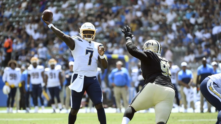 CARSON, CA – AUGUST 18: Quarterback Cardale Jones #7 of the Los Angeles Chargers throws during the first half of their pre seaon football game against New Orleans Saints at Dignity Health Sports Park on August 18, 2019 in Carson, California. (Photo by Kevork Djansezian/Getty Images)