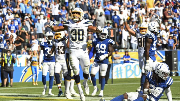 CARSON, CA – SEPTEMBER 08: Running back Austin Ekeler #30 of the Los Angeles Chargers celebrates his touchdown against free safety Malik Hooker #29 of the Indianapolis Colts in overtime at Dignity Health Sports Park on September 8, 2019 in Carson, California. (Photo by Kevork Djansezian/Getty Images)