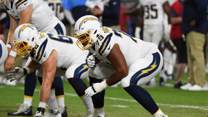 GLENDALE, ARIZONA - AUGUST 08: Trey Pipkins III #79 of the Los Angeles Chargers warms up prior to an NFL preseason game against the Arizona Cardinals at State Farm Stadium on August 08, 2019 in Glendale, Arizona. (Photo by Norm Hall/Getty Images)