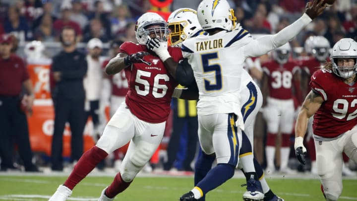 GLENDALE, ARIZONA – AUGUST 08: Linebacker Terrell Suggs #56 of the Arizona Cardinals battles through a block to get to quarterback Tyrod Taylor #5 of the Los Angeles Chargers during the first half of the NFL pre-season game at State Farm Stadium on August 08, 2019 in Glendale, Arizona. (Photo by Ralph Freso/Getty Images)
