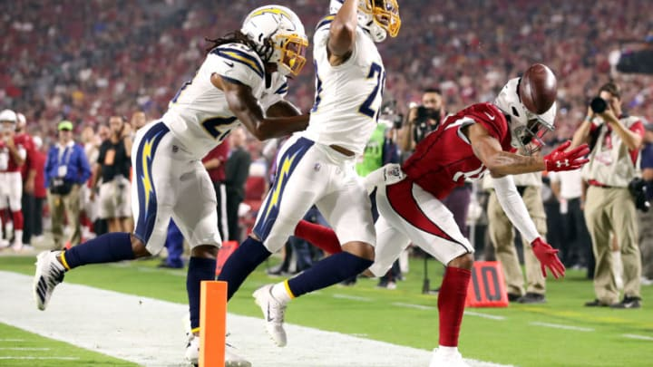 GLENDALE, ARIZONA - AUGUST 08: Jeff Richards #29 of the Los Angeles Chargers breaks up a pass intended for Damiere Byrd #14 of the Arizona Cardinals during a preseason game at State Farm Stadium on August 08, 2019 in Glendale, Arizona. (Photo by Christian Petersen/Getty Images)