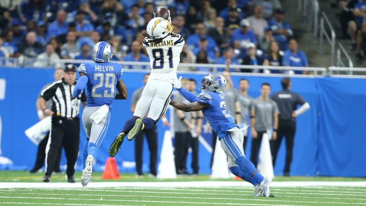 DETROIT, MI – SEPTEMBER 15: Mike Williams #81 of the Los Angeles Chargers makes a leaping catch over Justin Coleman #27 of the Detroit Lions in the second quarter at Ford Field on September 15, 2019 in Detroit, Michigan. (Photo by Rey Del Rio/Getty Images)