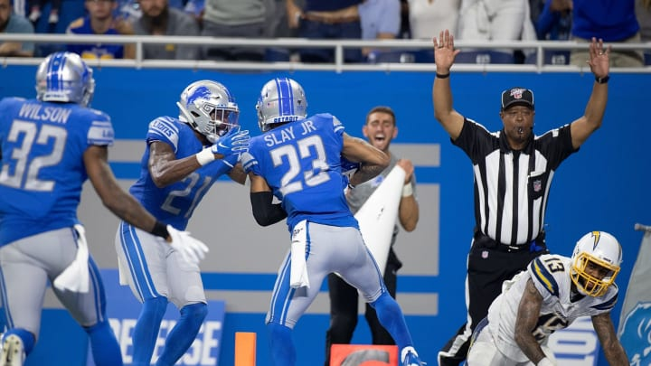 DETROIT, MI – SEPTEMBER 15: Darius Slay #23 of the Detroit Lions intercepts the pass from Philip Rivers #17 (not in photo) during the fourth quarter of the game at Ford Field on September 15, 2019 in Detroit, Michigan. Detroit defeated Los Angeles 13-10. (Photo by Leon Halip/Getty Images)
