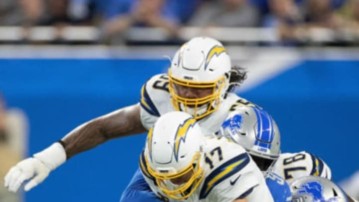 DETROIT, MI – SEPTEMBER 15: Philip Rivers #17 of the Los Angeles Chargers is sacked by Romeo Okwara #95 of the Detroit Lions during the third quarter at Ford Field on September 15, 2019 in Detroit, Michigan. Detroit defeated Los Angeles 13-10. (Photo by Leon Halip/Getty Images)