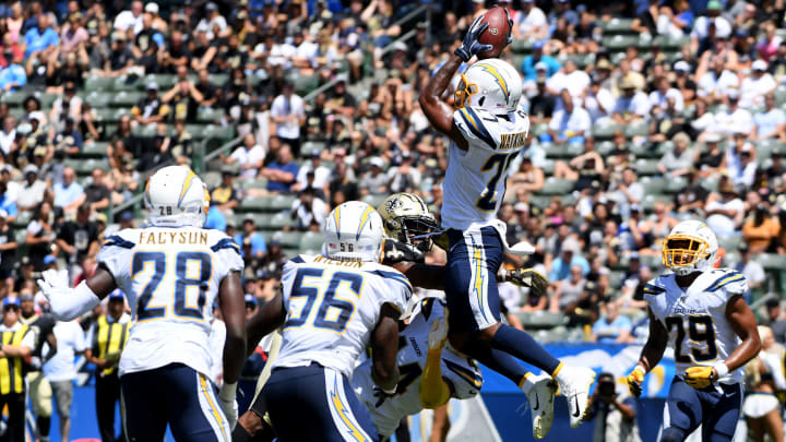 CARSON, CALIFORNIA – AUGUST 18: Jaylen Watkins #27 of the Los Angeles Chargers makes an interception in the first half against the New Orleans Saints during a preseason game at Dignity Health Sports Park on August 18, 2019 in Carson, California. (Photo by Harry How/Getty Images)