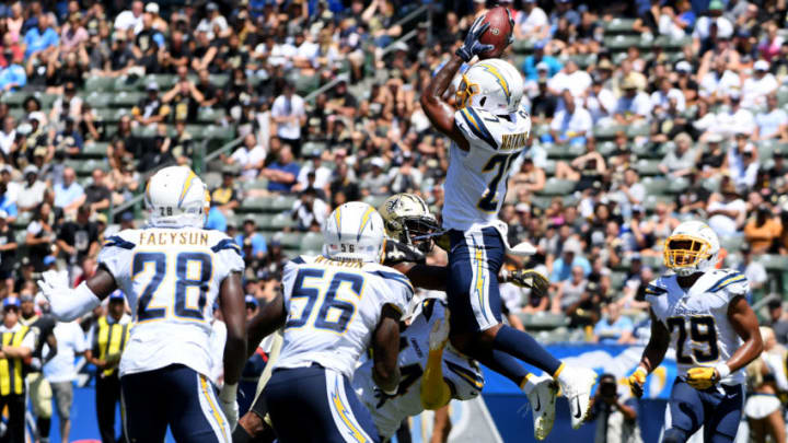 CARSON, CALIFORNIA - AUGUST 18: Jaylen Watkins #27 of the Los Angeles Chargers makes an interception in the first half against the New Orleans Saints during a preseason game at Dignity Health Sports Park on August 18, 2019 in Carson, California. (Photo by Harry How/Getty Images)