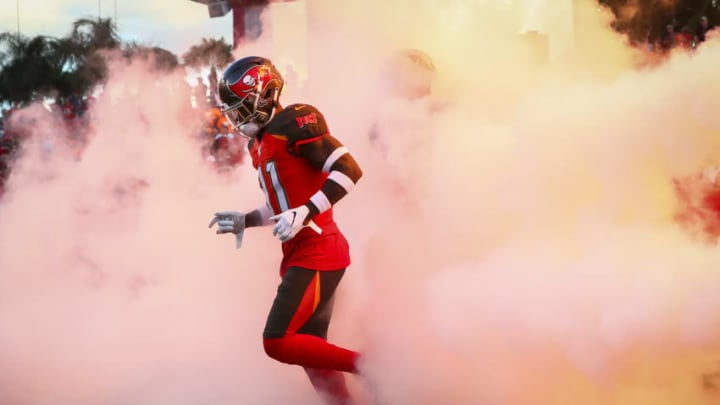 TAMPA, FL - AUGUST 23: Anthony Johnson #81 of the Tampa Bay Buccaneers takes the field at the start of the preseason game against the Cleveland Browns at Raymond James Stadium on August 23, 2019 in Tampa, Florida. (Photo by Will Vragovic/Getty Images)