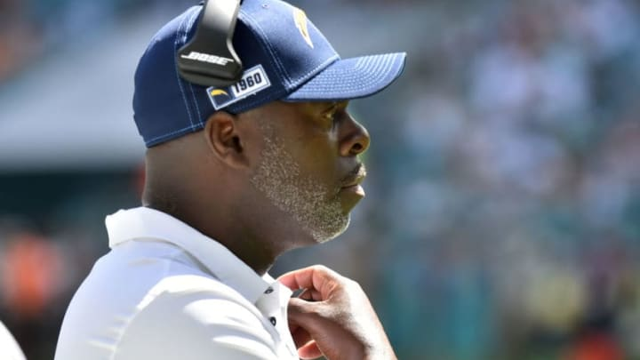MIAMI, FL - SEPTEMBER 29: Head Coach Anthony Lynn of the Los Angeles Chargers on the sidelines during the second quarter of the game against the Miami Dolphins at Hard Rock Stadium on September 29, 2019 in Miami, Florida. (Photo by Eric Espada/Getty Images)