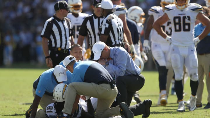 CARSON, CALIFORNIA - SEPTEMBER 08: Mike Williams #81 of the Los Angeles Chargers is tended to after being injured on a play during the second half of a game against the Indianapolis Colts at Dignity Health Sports Park on September 08, 2019 in Carson, California. (Photo by Sean M. Haffey/Getty Images)